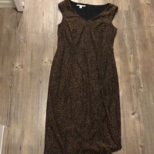 Maggy London size 12 gold sparkle midi dress